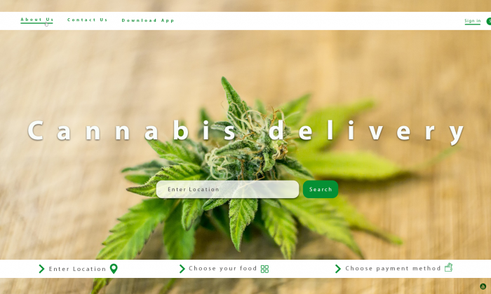 Landing page design - Canabis delivery